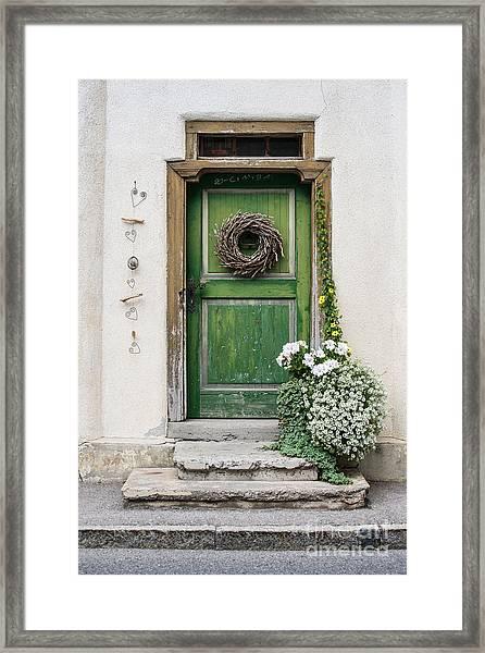 Rustic Wooden Village Door - Austria Framed Print