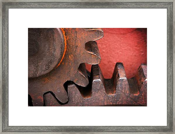 Rusty And Metallic Gear Wheel Framed Print