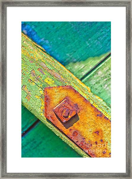 Rusty Bolt On Rotten Green Wood Framed Print