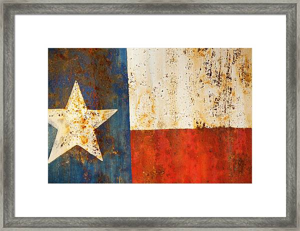 Rusty Texas Flag Rust And Metal Series Framed Print