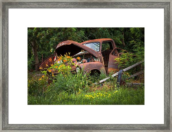Rusty Truck Flower Bed - Charming Rustic Country Framed Print