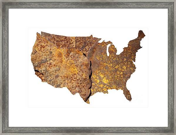 Rusty Usa Map Framed Print