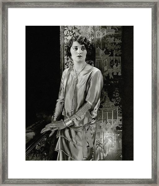 Ruth Elder Wearing A Satin Dress Framed Print