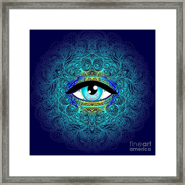 Sacred Geometry Symbol With All Seeing Framed Print