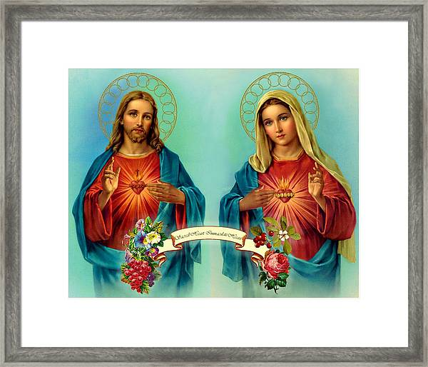 Sacred Heart Immaculate Heart  Framed Print