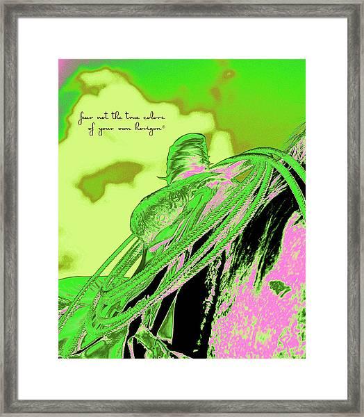 Saddle Electric Pink Framed Print
