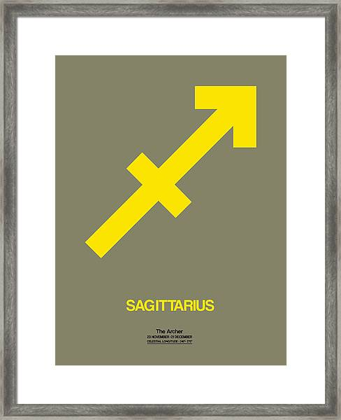 Sagittarius Zodiac Sign Yellow Framed Print