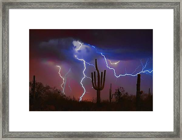Saguaro Lightning Nature Fine Art Photograph Framed Print