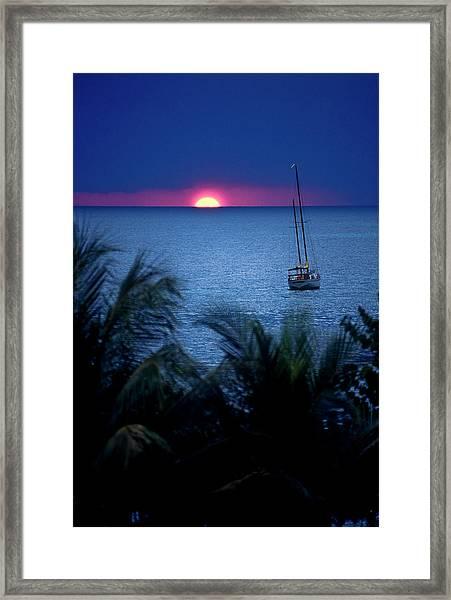 Sailboat At Sunset Under Purple Sky Off Framed Print
