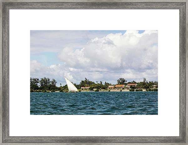 Sailboat In Choppy Waters, Ibo Island Framed Print