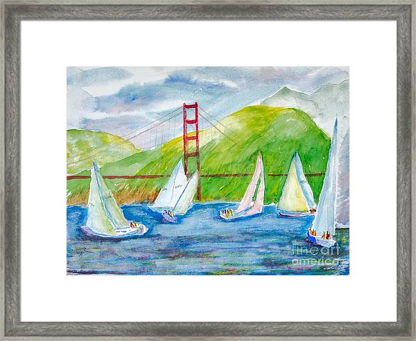 Sailboat Race At The Golden Gate Framed Print