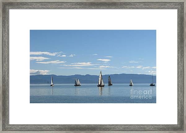 Sailboats In Blue Framed Print