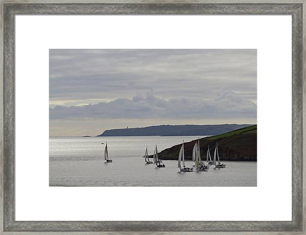Sailboats Race Out Of Kinsale Harbour Framed Print