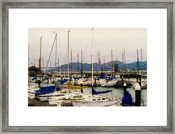 Sailboats Watercolor Framed Print