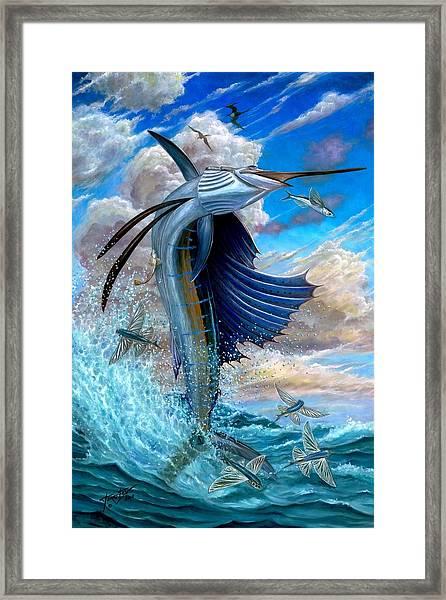 Sailfish And Flying Fish Framed Print