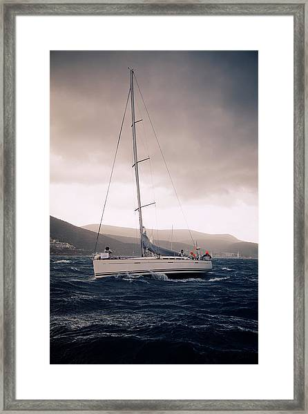 Sailing  And Stormy Weather Framed Print