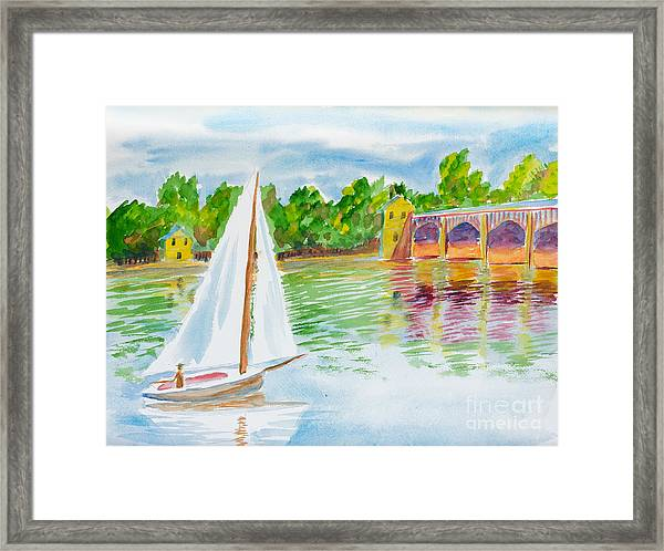 Sailing By The Bridge Framed Print