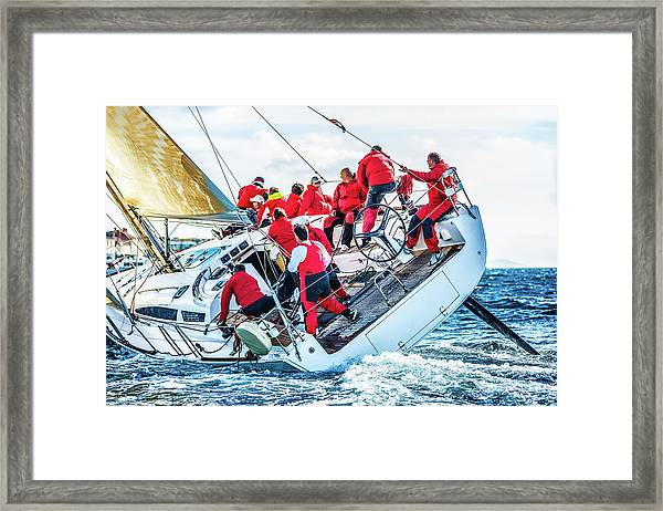 Sailing Crew On Sailboat During Regatta Framed Print