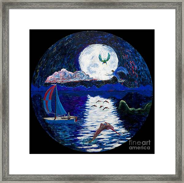 Sailing In The Moonlight Framed Print