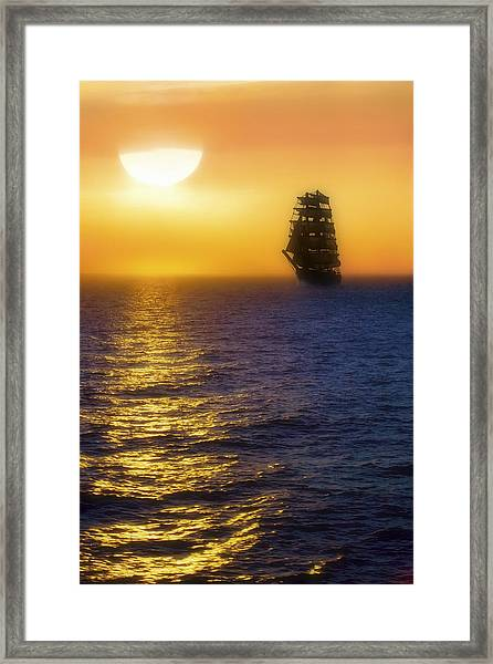 Sailing Out Of The Fog At Sunrise Framed Print