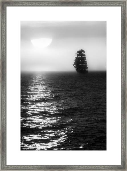 Sailing Out Of The Fog - Black And White Framed Print