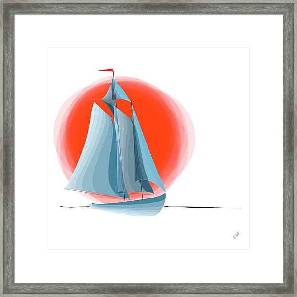 Sailing Red Sun Framed Print