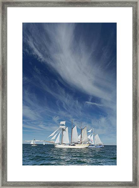 Sailing Ships Und Cirrus Clouds Above Framed Print