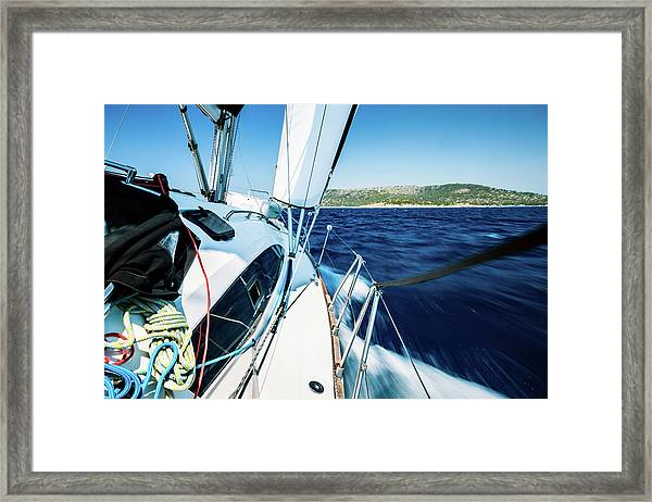 Sailing With Sailboat Framed Print