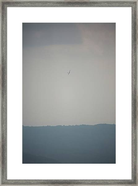 Sailplane In Front Of Dull Hazy Sky Framed Print