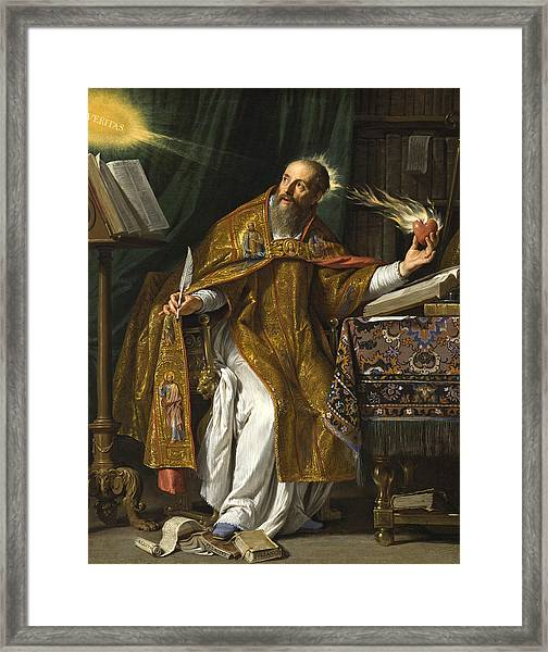 Framed Print featuring the painting Saint Augustine by Philippe de Champaigne