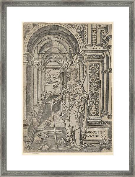 Saint Catherine, Sword In Her Right Framed Print