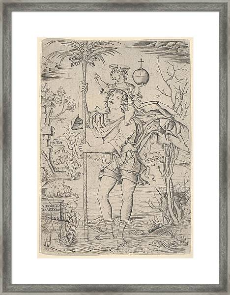 Saint Christopher With The Christ Child Framed Print