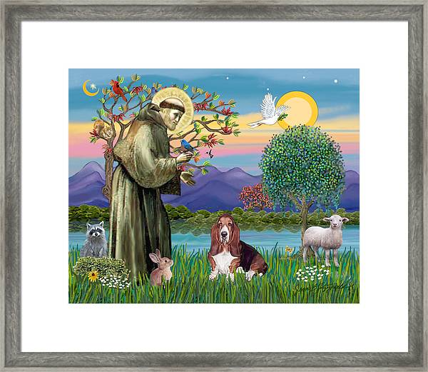 Saint Francis Blesses A Basset Hound Framed Print
