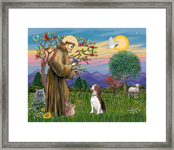 Saint Francis Blesses A Beagle Framed Print