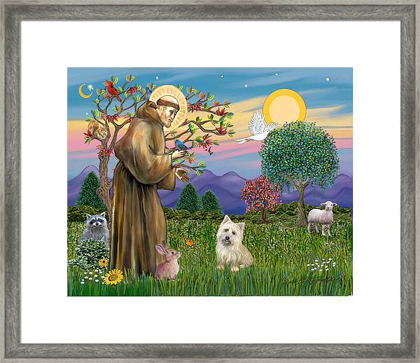 Saint Francis Blesses A Cairn Terrier Framed Print