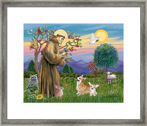 Saint Francis Blesses A Corgi And Her Pup Framed Print