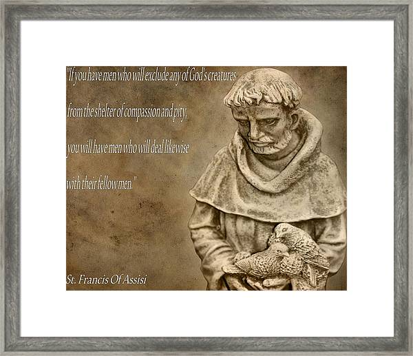 Saint Francis Of Assisi Framed Print