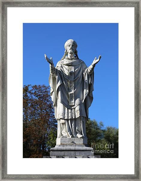 Saint Martin Statue At Lourdes Framed Print