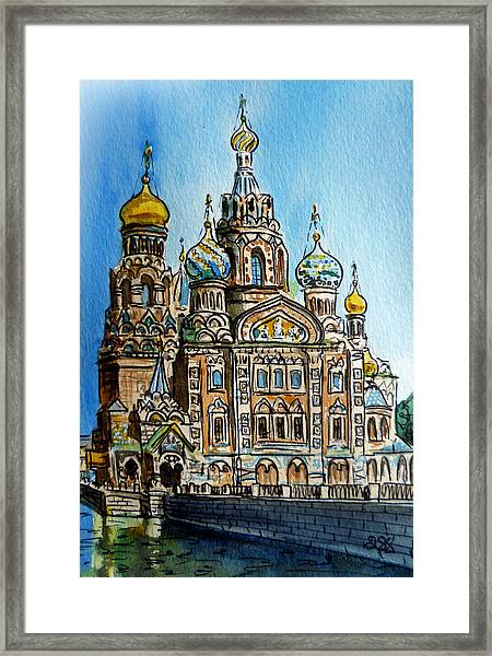 Saint Petersburg Russia The Church Of Our Savior On The Spilled Blood Framed Print