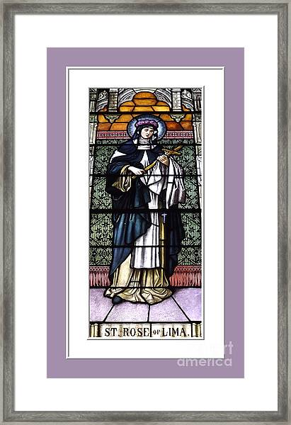 Saint Rose Of Lima Stained Glass Window Framed Print