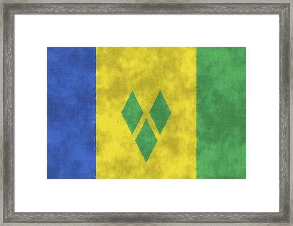 Saint Vincent And The Grenadines Flag Framed Print