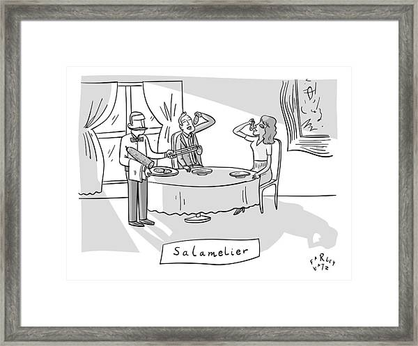 Salamlier -- A Waiter Slices Salami For Two Framed Print
