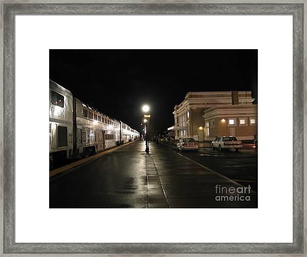 Salem Amtrak Depot At Night Framed Print