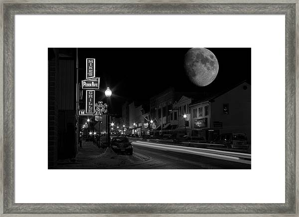 Salem Ohio Winter Moon Framed Print