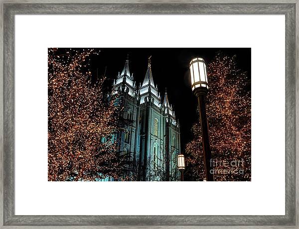 Salt Lake City Mormon Temple Christmas Lights Framed Print
