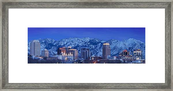 Framed Print featuring the photograph Salt Lake City Skyline by Brian Jannsen