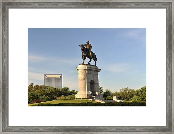 Sam Houston Statue In Hermann Park Framed Print by Aimintang