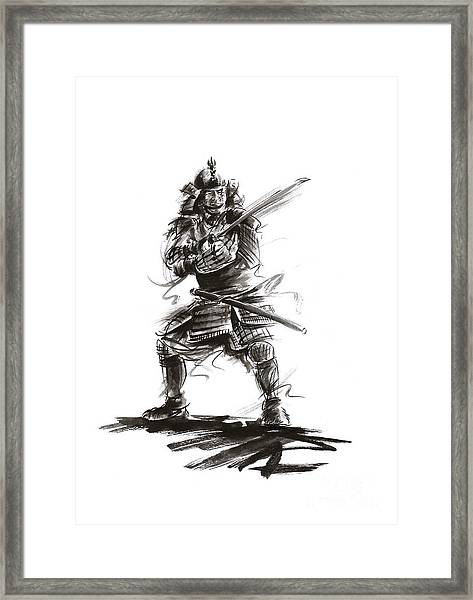 Samurai Complete Armor Warrior Steel Silver Plate Japanese Painting Watercolor Ink G Framed Print
