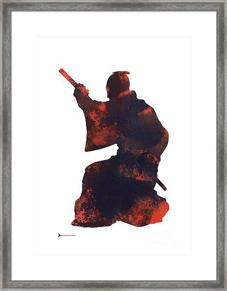 Samurai Silhouette Painting Watercolor Art Print Framed Print