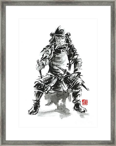 Samurai Sword Bushido Katana Armor Silver Steel Plate Metal Kabuto Costume Helmet Martial Arts Sumi- Framed Print